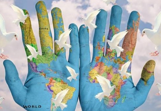 hands painted with globe