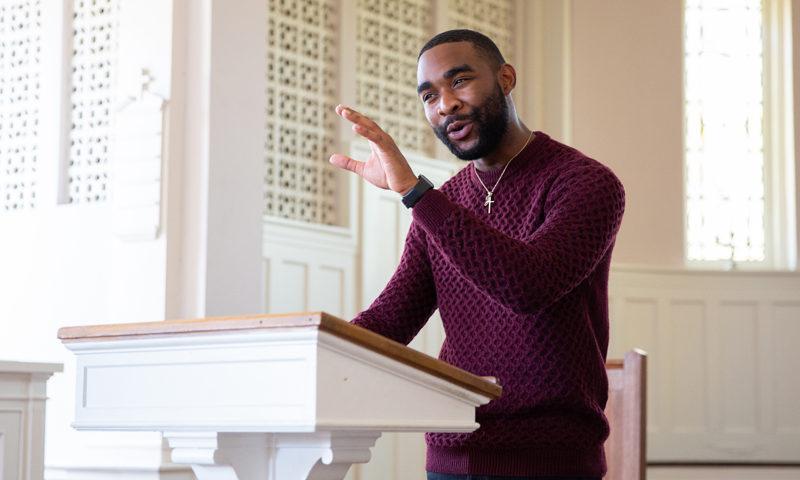 Jazer Willis at church podium