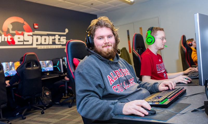 Brody Brown in Albright's eSports suite