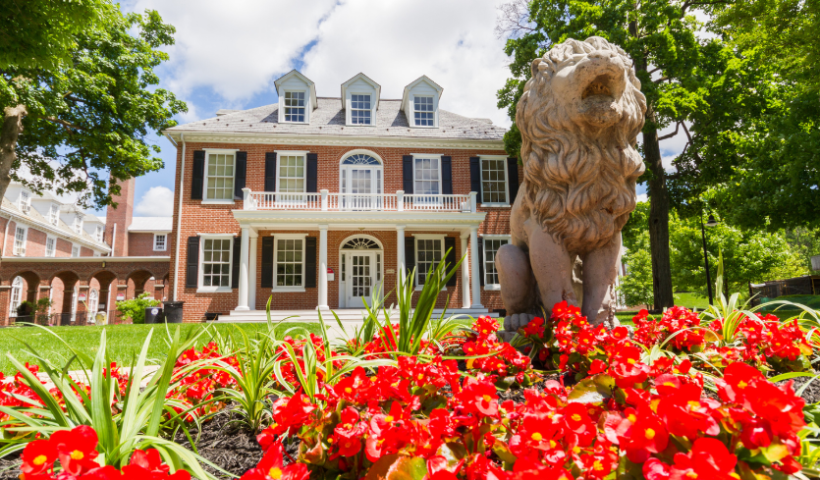 Lion statue, Albright campus