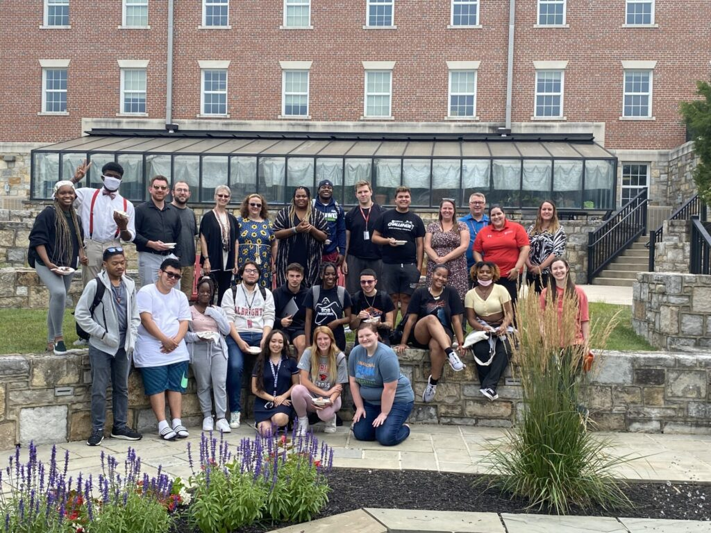 2021 Summer Scholars congregate by Slywyn Pond on Albright College's campus.